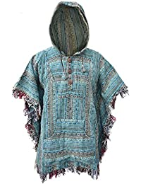 Poncho Little Kathmandu, de estilo Hippie, con capucha, de algodón