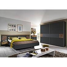 Schlafzimmer, Schlafzimmermöbel, Komplettset, Schlafzimmereinrichtung, Komplettangebot, 4-teilig, grau-metallic, Eiche Riviera NB, Hirnholz, basalt