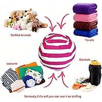 Handfly Puf de almacenamiento con diseño de rayas para guardar juguetes y ropa, Rojo, Large