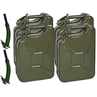 4 x Opticare 10 Litre Green Metal Jerry Can With Flexible Spouts (UN Approved, GS/TUV Certification)