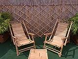 Bambusliegestuhl Sonnenliege Bambus-Liegefläche Armlehne