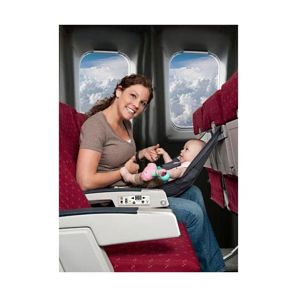 Infant Airplane Seat - Flyebaby Airplane Baby Comfort System - Air Travel with Baby Made Easy FlyeBaby One of the highest selling baby travel accessories on Amazon in US; scroll down for over 100 customer reviews Compliant with all FAA regulations Easily attaches to the seat in front of you and around your waist, yet safe with front seat movement -- Allows for face to face interaction. 1