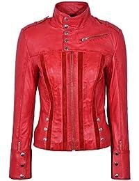 Ladies 4520 Red Slim Fit Suede Sheep Biker Napa Genuine Real Soft Leather Jacket