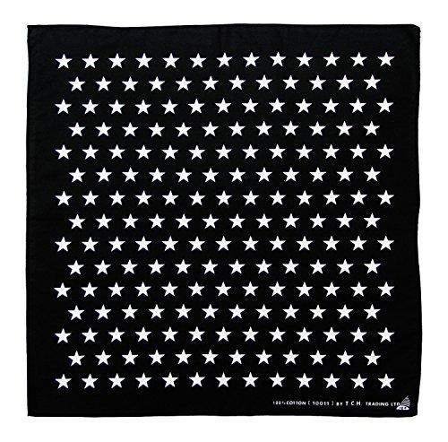 Tuch Schwarz mit Weißen Sternen Kopftuch Bandana Halstuch Biker Sport Nickituch Kopfbedeckung ca. 51 x 51 cm Einseitig Bedruckt