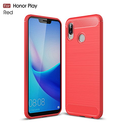 CruzerLite Honor Play hülle, Huawei Honor Play hülle, Carbon Fiber Shock Absorption Slim TPU Cover Schutzhülle für Huawei Honor Play (Red)