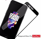 Ideal Collection Edge To Edge Full Front Body Cover Coloured (Black) Tempered Full Glass Screen Protector Guard For One Plus 5 - Black