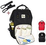 BABYDAY® XL Baby Wickelrucksack | Wickeltasche groß inkl. 2 Haken | mehrere Farben | 24 Liter Volumen | Lässige Windeltasche | Babytasche in schwarz