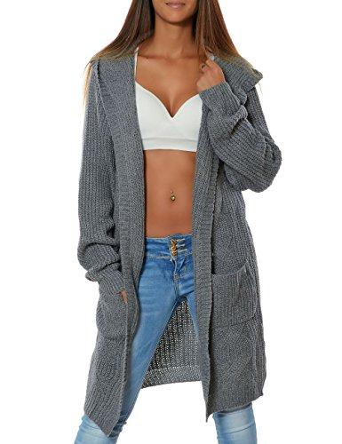 Damen Cardigan Strickjacke Mantel Langarm Pullover (weitere Farben) 15729, Farbe:Steingrau, Größe:One Size