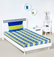 Amazon Brand - Solimo Mural Stripes 144 TC 100% Cotton Single Bedsheet with 1 Pillow Covers, Green and Blue