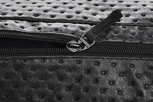 Doris Boutique Fu - PU Leder Damen Herren Neutral Gürteltasche Bauchtasche Hüfttasche Geldbeutel Bikertasche (Silber) Schwarz 03