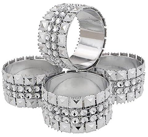 Lot de 4 ronds de serviette diamants strass argent