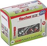 fischer DUOPOWER 5 x 25 S PH - Universaldübel mit Panhead-Schraube für eine Vielzahl von Baustoffen - Allzweckdübel für Bilder, Dekorationen, Sockelleisten uvm. - 50 Stück - Art.-Nr. 535462