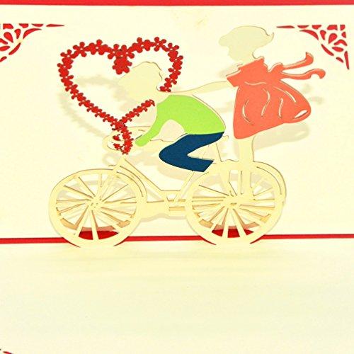 Medigy handmade 3d pop up biglietti di auguri per san valentino, amanti, amanti/regali san valentino carte (da coppia su biciclette)