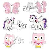 GH* KIDS 3 PAAR Ohrstecker Pegasus Einhorn + Eule + Schmetterling 925 Echt Silber Mädchen Kinder Ohrringe