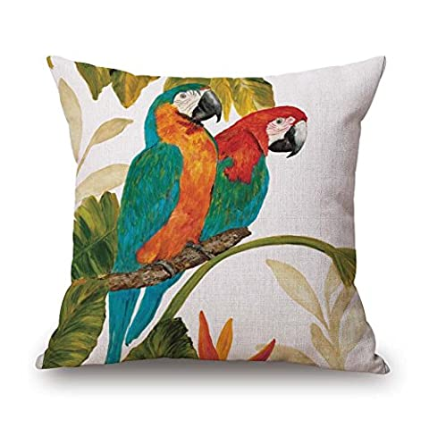 MaxG Home Decor Cotton Linen Animal Birds Parrots Tropical Square Throw Pillow Cases Cushion Covers For Sofa Bed 18X18