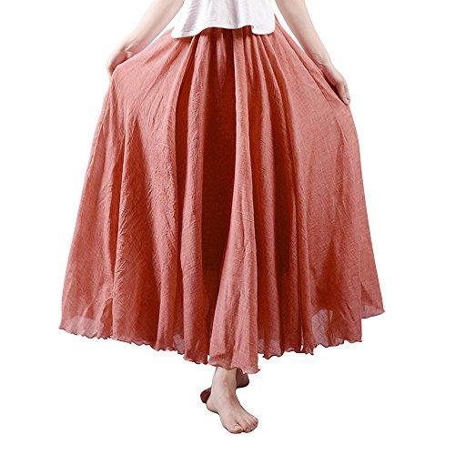 OCHENTA Mujeres Estilo Bohemia Cintura Elástico Algodón Larga Lino Faldas  Rust Red 105CM 17f68dd52ce0