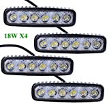 Greenmigo 4pcs 18W LED Arbeitsscheinwerfer weiß 12V 24V Reflektor Work Light Bar Scheinwerfer Arbeitslicht Offroad Arbeitslampe