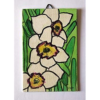 Narzissen Blumen – in Aquarell gemalt, auf Leinwand Papier Abmessungen cm 10x15x0,3 cm, bereit, an der Wand befestigt zu…