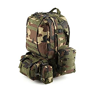 AllRight Military Tactical Backpack 50L Molle 3 Day Outdoor Rucksack Camping Bag Woodland Camouflage
