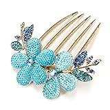 Five Season 1pcs Charm Fashion Lady Fille Fleur Pattern Alliage Strass Barrette Pince à Cheveux Peigne -- Bleu