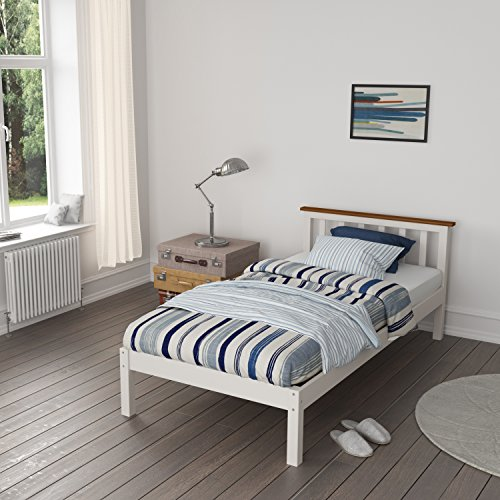 Single Bed Wood Frame, HST Mall 3ft Single Bed Frame in White for Kids Children Bedroom Furniture