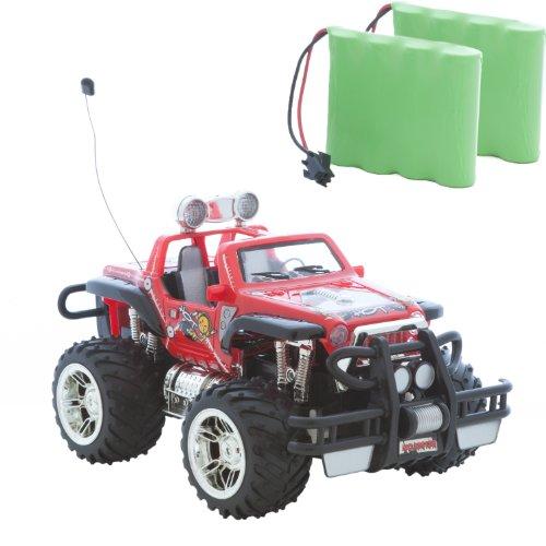 Roter Jeep Buggy Monstertruck HOT Cross Country 1:16, Ferngesteuert, perfekt für Kinder, mit LED Licht und Akku + Zweitakku