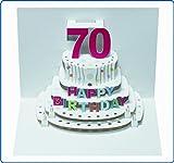 Pop Up 3D Karte Geburtstagskarte 70 Geburtstag Gutschein Torte 16x11cm