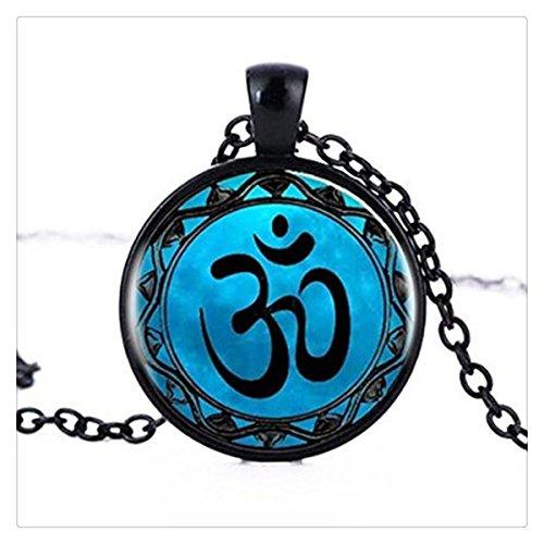 Collana ciondolo OM Yoga Namaste Jewelry Zen Vintage collana pendente om collana cabochon Dichiarazione Collana