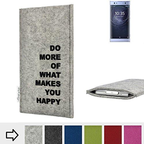flat.design Handy Hülle FARO für Sony Xperia XA2 Ultra Dual-SIM Made in Germany Handytasche Filz Tasche Case Spruch Motto Mantra fair
