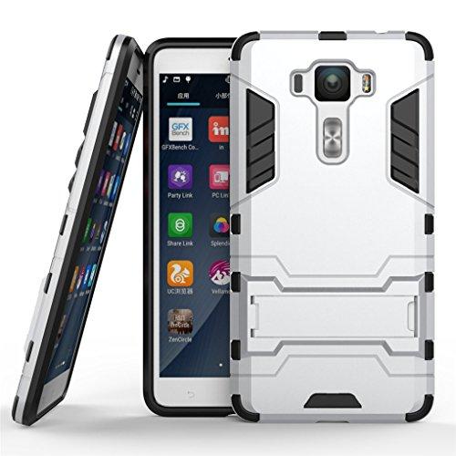 Zenfone 3 Deluxe (5.5 inch) ZS550KL Hülle, SATURCASE Hybrid 2 In 1 [PC & Silikon] Dual-Layer Stoßstange Schützend Tasche Hülle Schutzhülle Handycover mit Kippständer für Asus Zenfone 3 Deluxe (5.5 inch) ZS550KL (Silber)