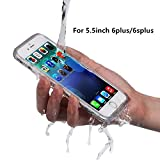 PISSION Waterproof Phone Cases Full Protection Cover Transparent Bumper for 5.5inch iPhone 6Plus/6SPlus (Gray)