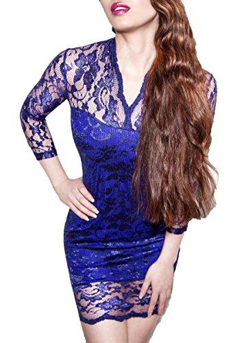 SodaCoda Robe dentelle manches 3/4 Femme Bleu