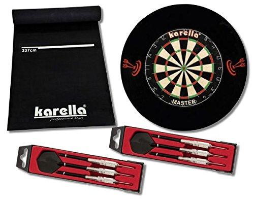 Dartscheibe Dartboard Kerella-Set mit Dartboard, Dartmatte ECO-Star, 2 Dartpfeilsätzen ST-1 und 4-TLG. Catchring