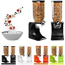 Ballino - Dispensador de cereales de plástico seco clásico para comida, individual, doble,