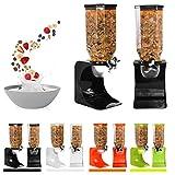 Ballino - Dispensador de cereales de plástico seco clásico para comida, individual, doble, color blanco transparente Single Black