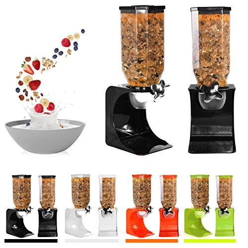 Ballino - Dispensador de cereales de plástico seco clásico para comida, individual, doble, color blanco transparente Single Orange
