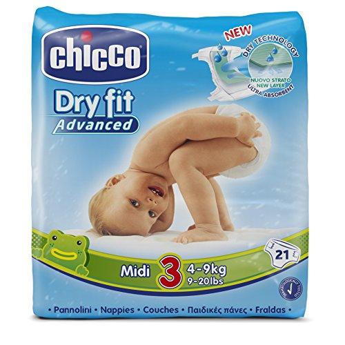 Chicco DryFit - Pack de 21 pañales ultra absorbentes, talla 3, 4-9 kg