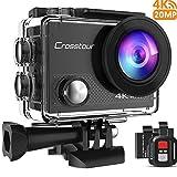 Crosstour Caméra Sport 4K Wi-FI 20MP Ultra HD étanche 40M Action Camera Télécommande avec 2 Piles et Un kit d'accessoires Complet