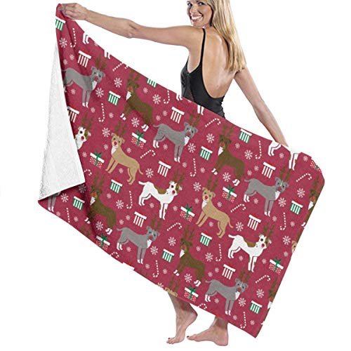 Pitbull Reindeer Snowflake Candy Cane Holiday Dogs Burgundy Large Towel Blanket for Travel Pool Swimming Bath Camping Yoga Girl Women Men 32 X 52 Inch
