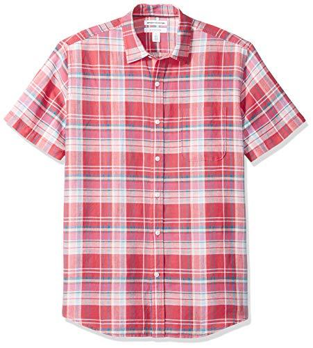 Amazon Essentials Regular-Fit Short-Sleeve Print Linen button-down-shirts, Red Plaid, US (EU XL-XXL)