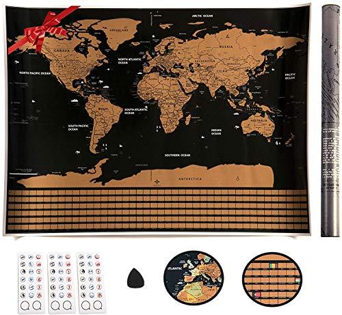 VEOMAPPY Mapa Mural para Rascar del Mundo 830*590mm - Rascar Island, País, las Ciudades que Visitó - Perfecto para los Viajeros   Exploradores   Coleccionistas - Con Pegatinas / Herramienta de Rayado