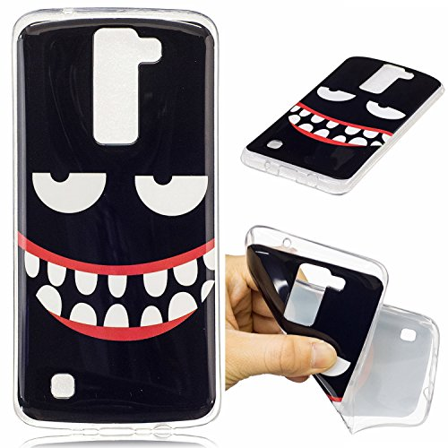 Ecoway TPU+IMD Soft Silicone Painted Pattern Protective Cover Cell Phone Case for LG K8 ( Black smile )