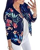 Minetom Mujer Bomber Chaqueta con Estampado Floral Casual Moda Classic Manga Larga Slim Fit de Cremallera Biker Chaqueta Baseball Jacket Coat Outwear Corta Primavera Otoño Azul ES 40