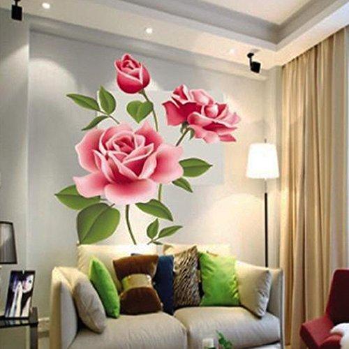 Jooks Wandaufkleber mit Rosenmotiv für zuhause, Schlafzimmer, Büro, Wanddekor, 70 x 50 cm