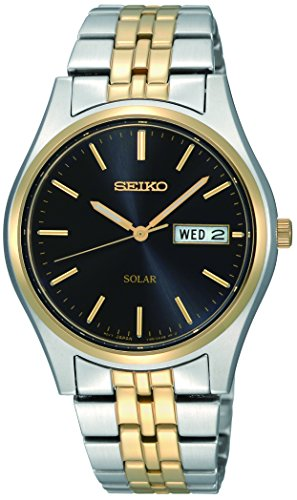Seiko Herren Analog Solar Uhr mit Edelstahl Armband SNE034P1 (Seiko Solar Herren-uhr)