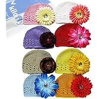 KF Baby Super Soft Crochet Beanie cappello con fiore, Set di 8cappellini (8+ 8fiore clip)