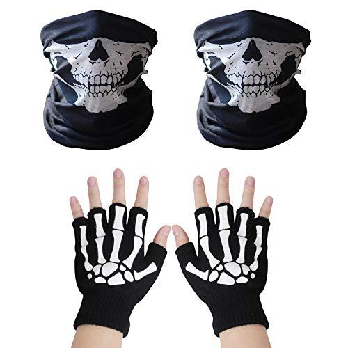 VIPITH 1 par de guantes de esqueleto y 2 unidades de máscaras de cara de calavera, patrón de esqueleto que brilla en la oscuridad, guantes de punto y sin costuras, multifunción, tubo de calavera, tubular, máscara de media cara, diadema, calentador de cuello