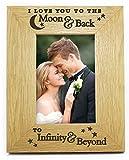 I Love You To The Moon And Back to infinity and Beyond 6x 46x 4in legno legno foto cornice romantico compleanno, anniversario, Natale, San Valentino regali regali per lei lui My Wife fidanzati