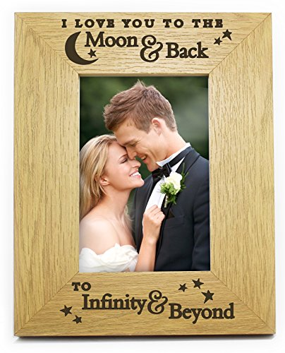I love you to the moon and back to infinity and beyond 6 x 4 6 x 4 in legno legno foto cornice romantico compleanno, anniversario, natale, san valentino regali regali per lei lui my wife fidanzati