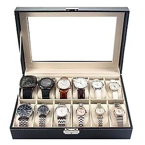 melodysusie pr sentoir bo te coffret montre noir coffret de rangement pour montres avec. Black Bedroom Furniture Sets. Home Design Ideas
